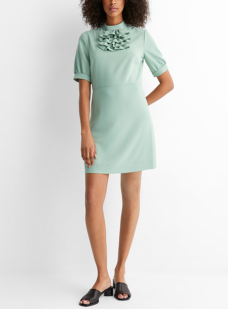 See by Chloé Lime Green Ruffle-bib dress for women
