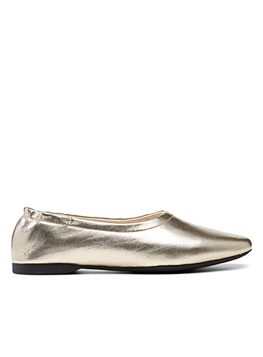 Maddie gold leather ballet flats