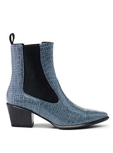 Vagabond Shoemakers Baby Blue Betsy blue croc Chelsea boots for women