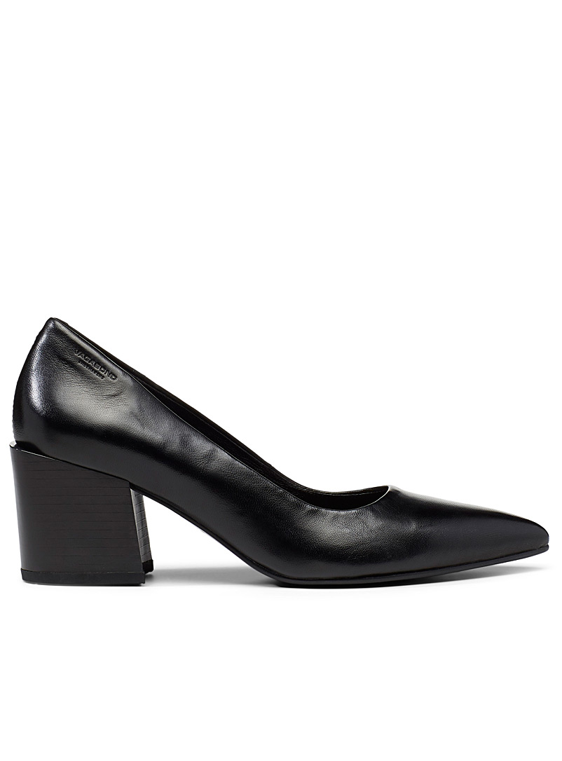 Adrianna black leather pumps