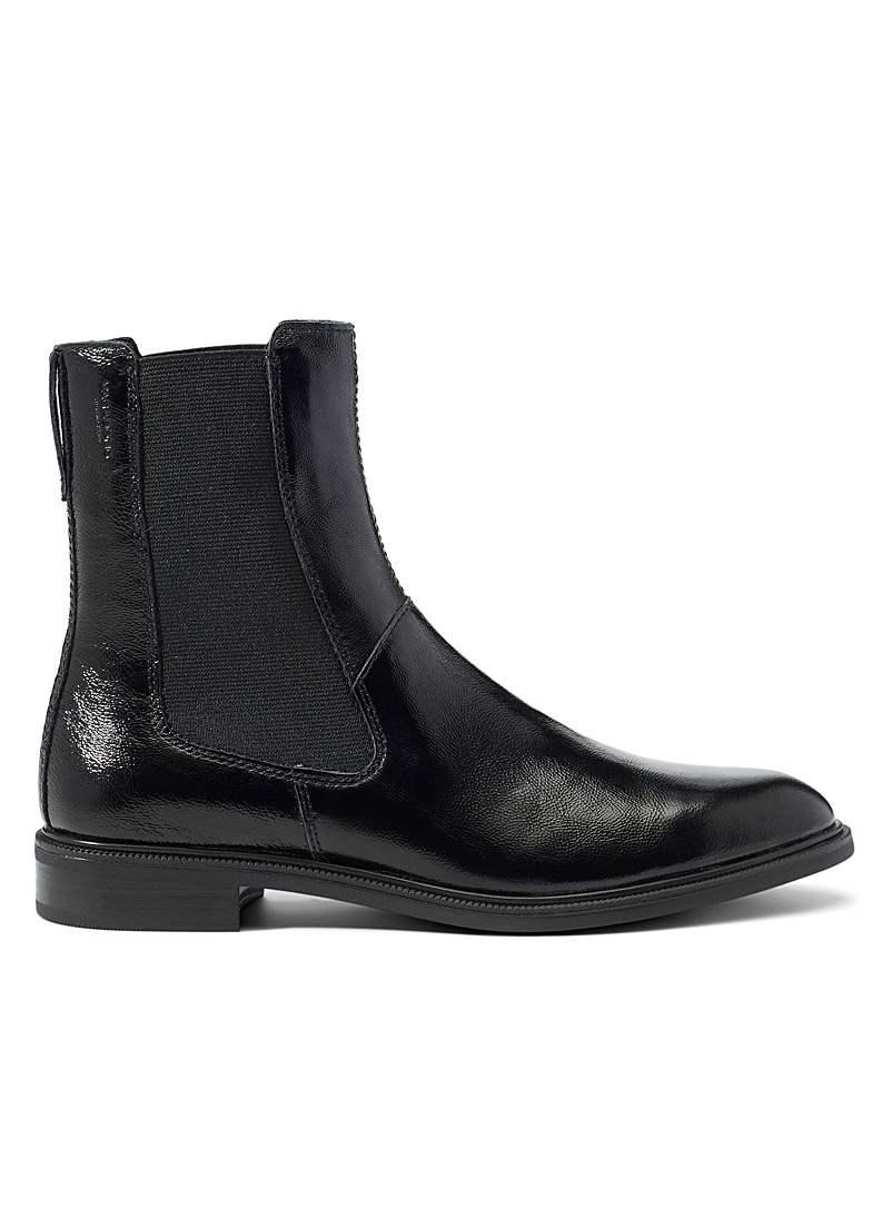 Vagabond Shoemakers Black Frances shiny Chelsea boots for women