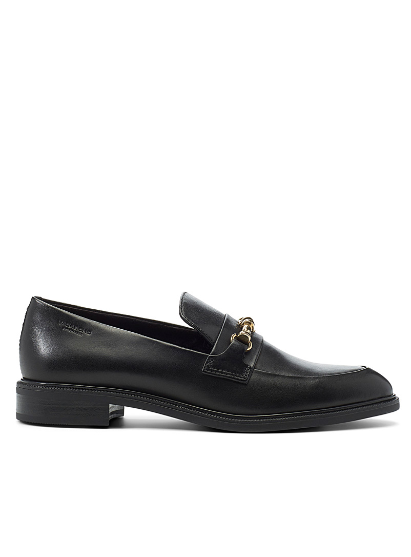 Frances gold-buckle leather loafers
