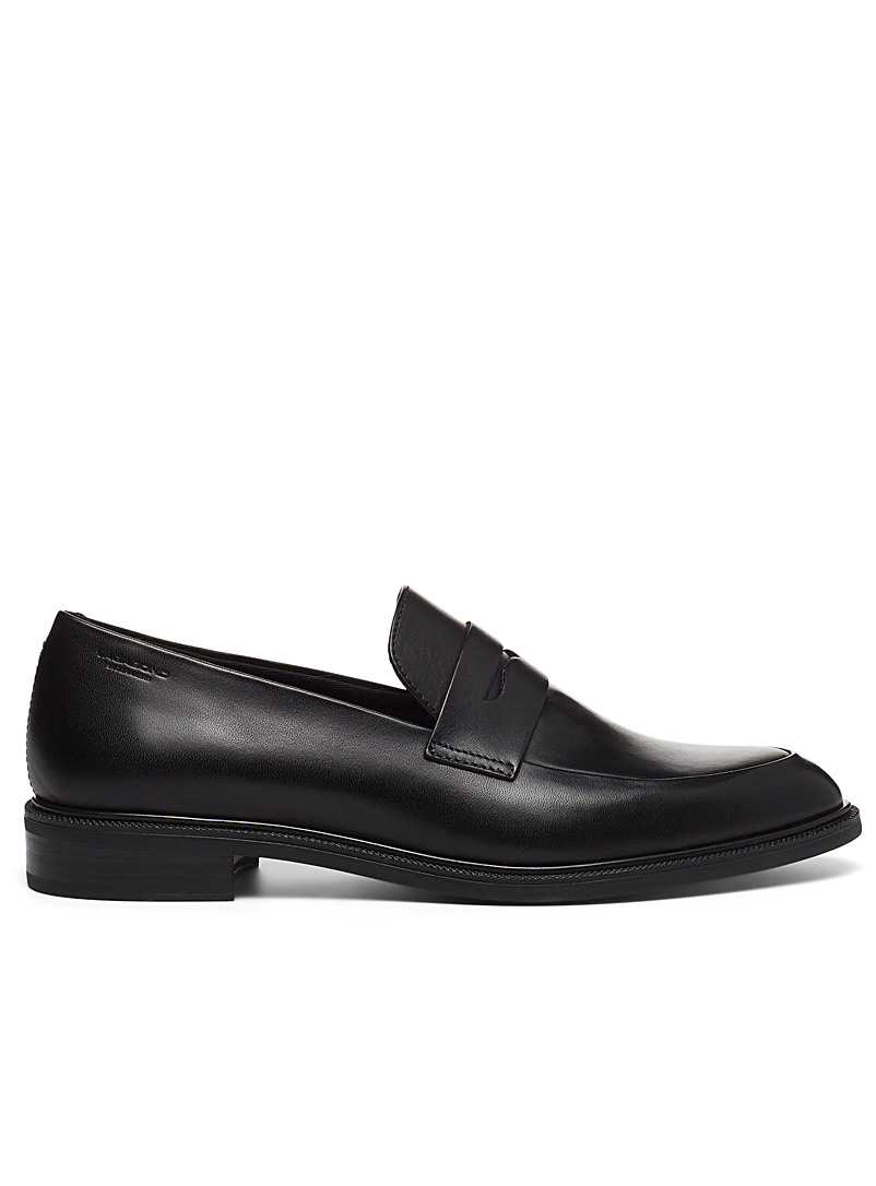 Frances black leather loafers