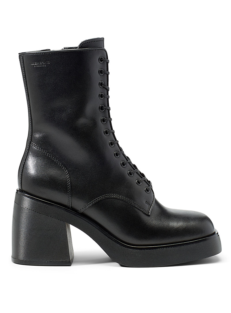 Vagabond Shoemakers Black Brooke lace-up heeled boots for women