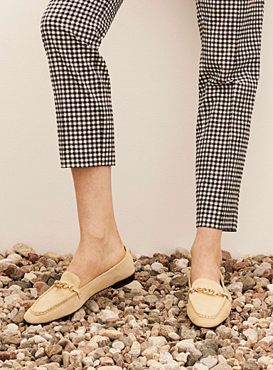 Cleo golden buckle suede loafers