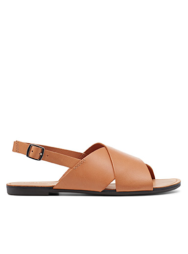 Tia leather crossed sandals