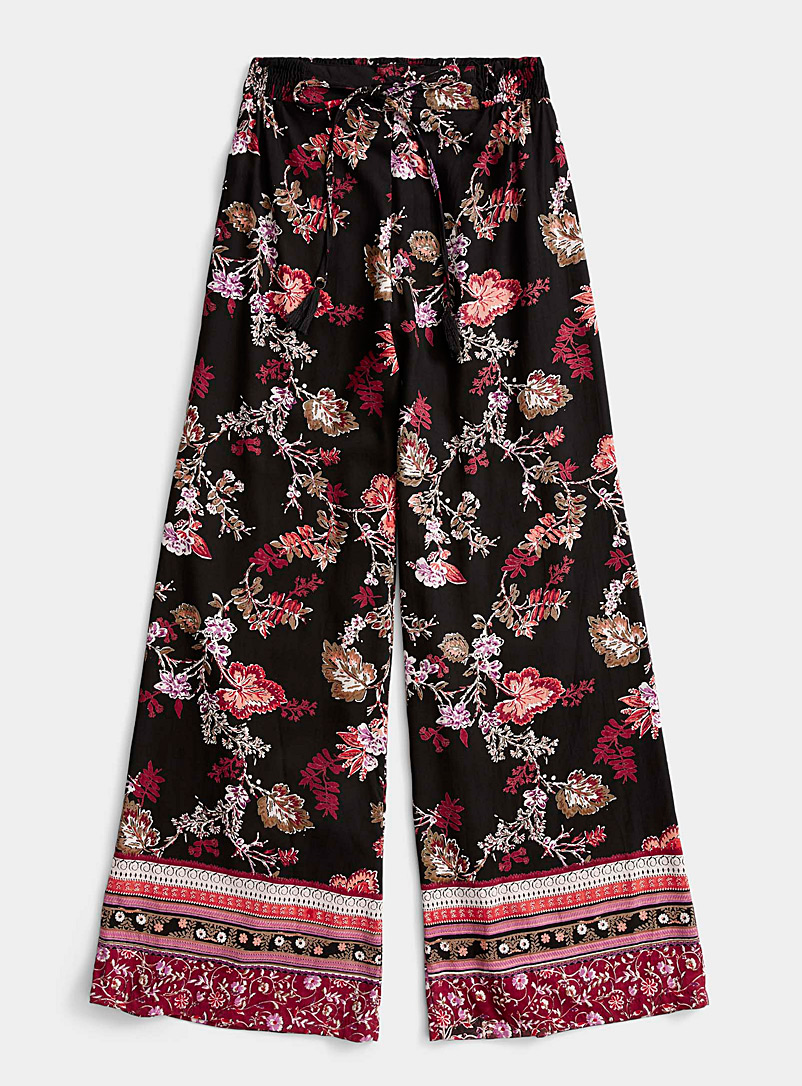 Icône Patterned Black Night flower palazzo pant for women