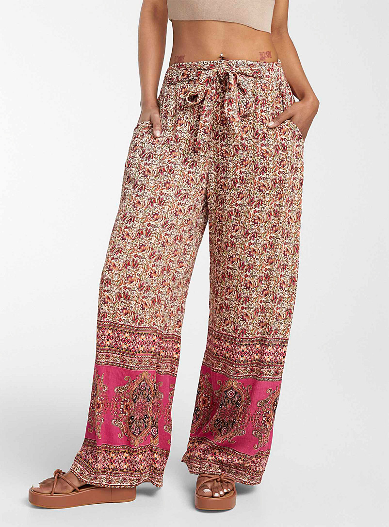Icône Patterned Brown Nomad print palazzo pant for women