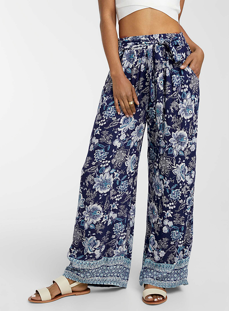 Icône Patterned Blue Nomad print palazzo pant for women