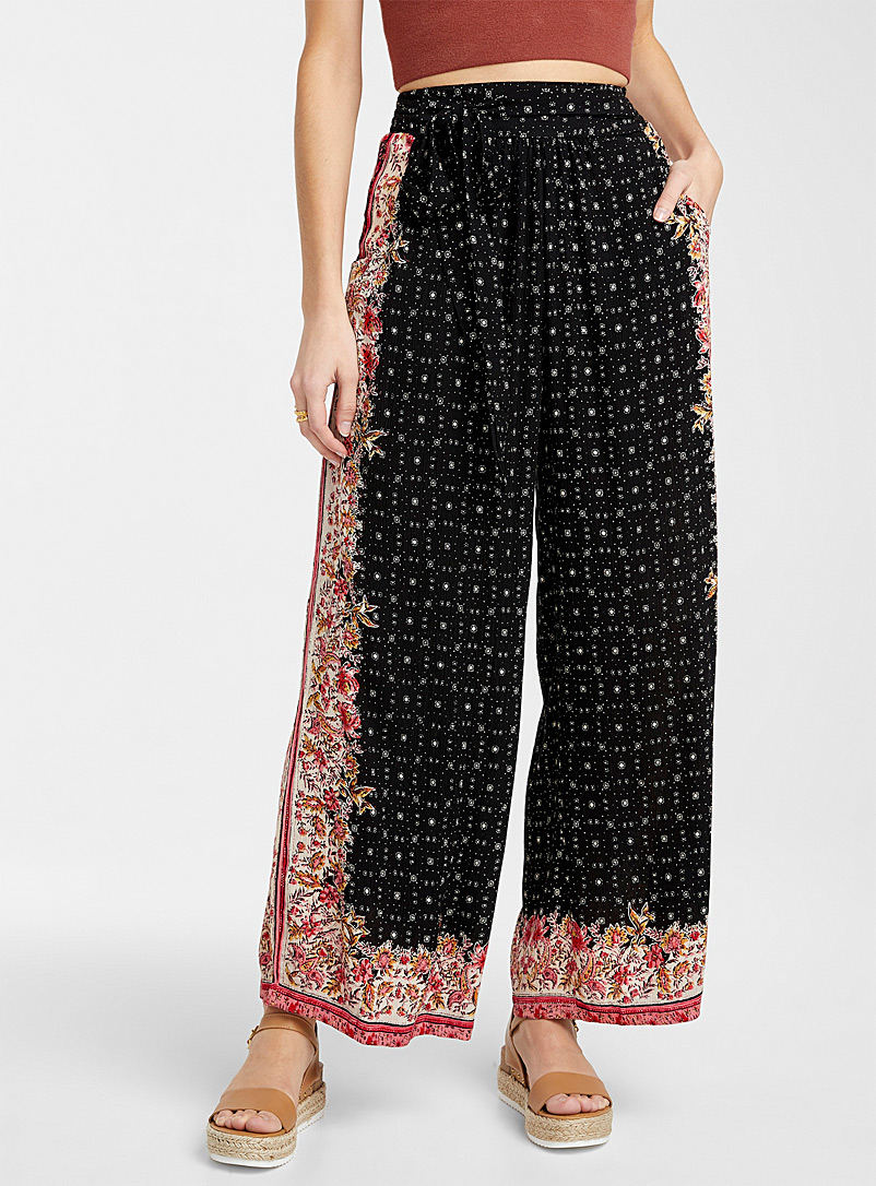 Icône Patterned Black Nomad print loose pant for women