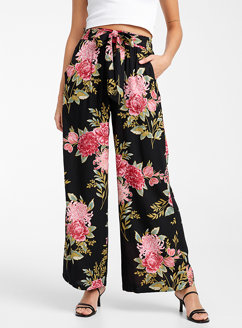 Icône Patterned Black Nocturnal peonies palazzo for women