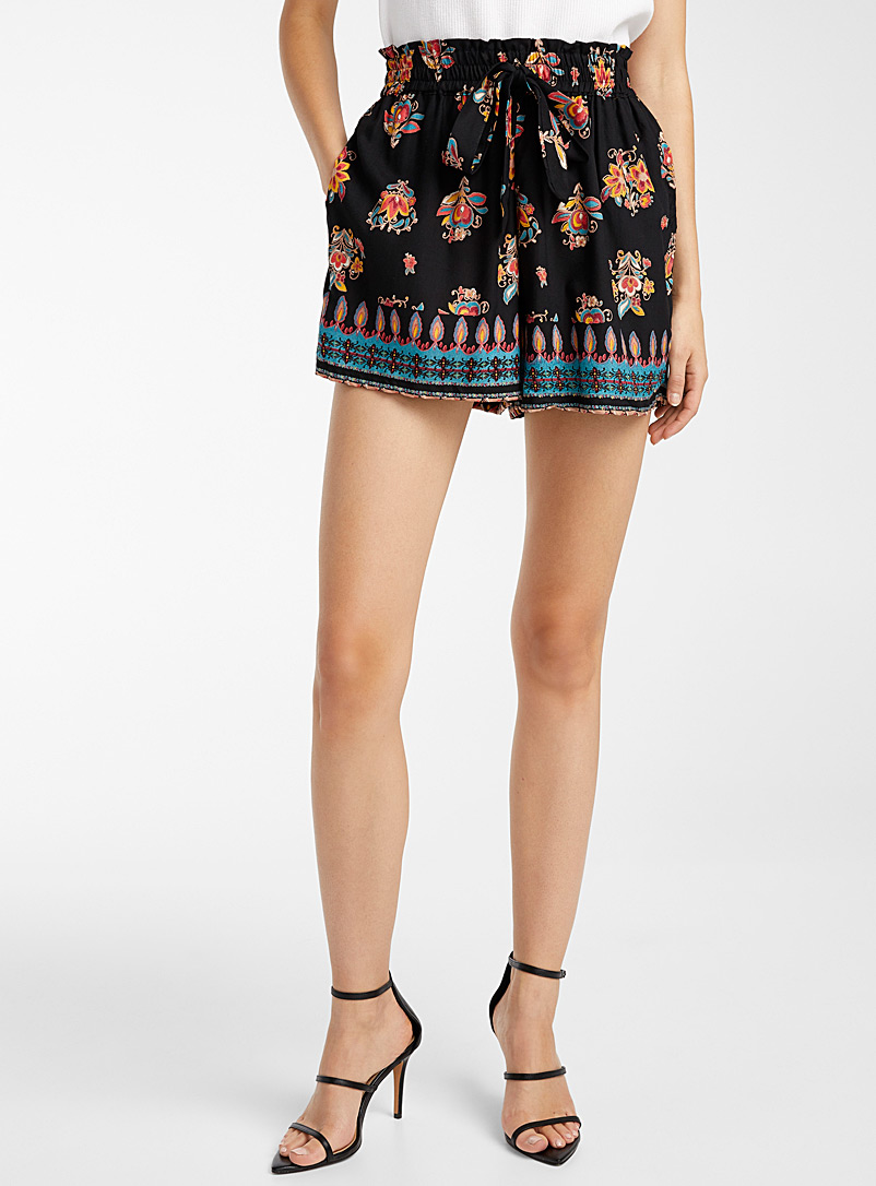 Icône Assorted Floral gathered waist short for women