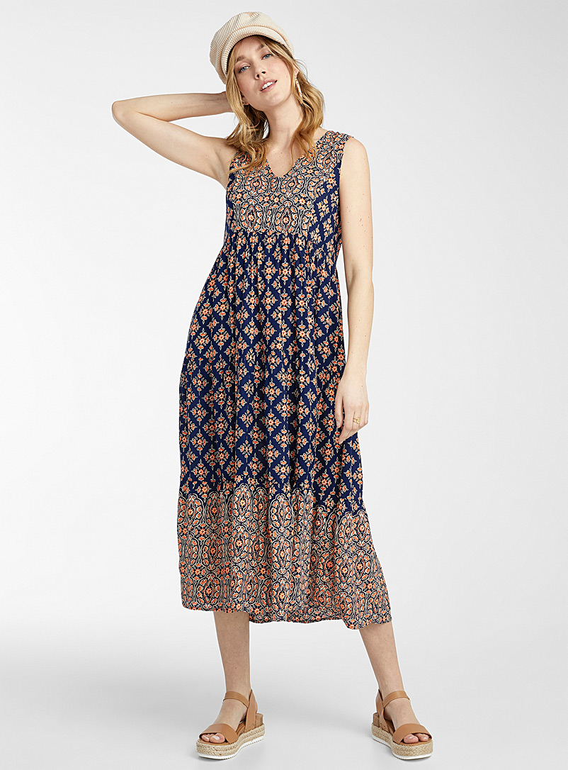 Icône Patterned Blue Floral mosaic maxi dress for women