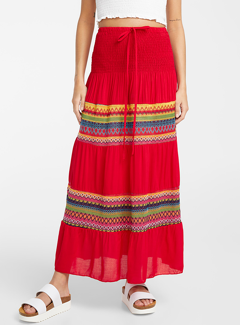Icône Patterned Red Woven coloured skirt for women
