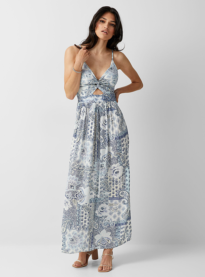 Icône Patterned Blue Wildflower maxi dress for women