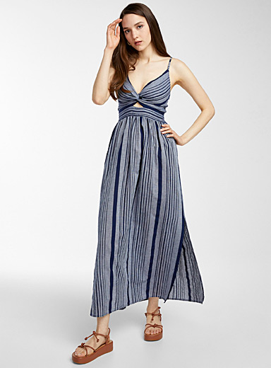 Seaside stripe knotted maxi dress