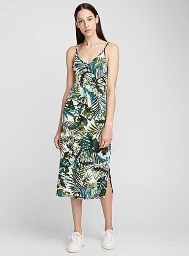 Tropical foliage midi dress