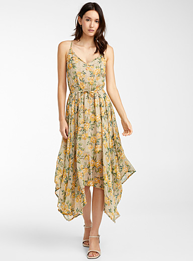 Icône Light Brown Pointed hem yellow flower dress for women