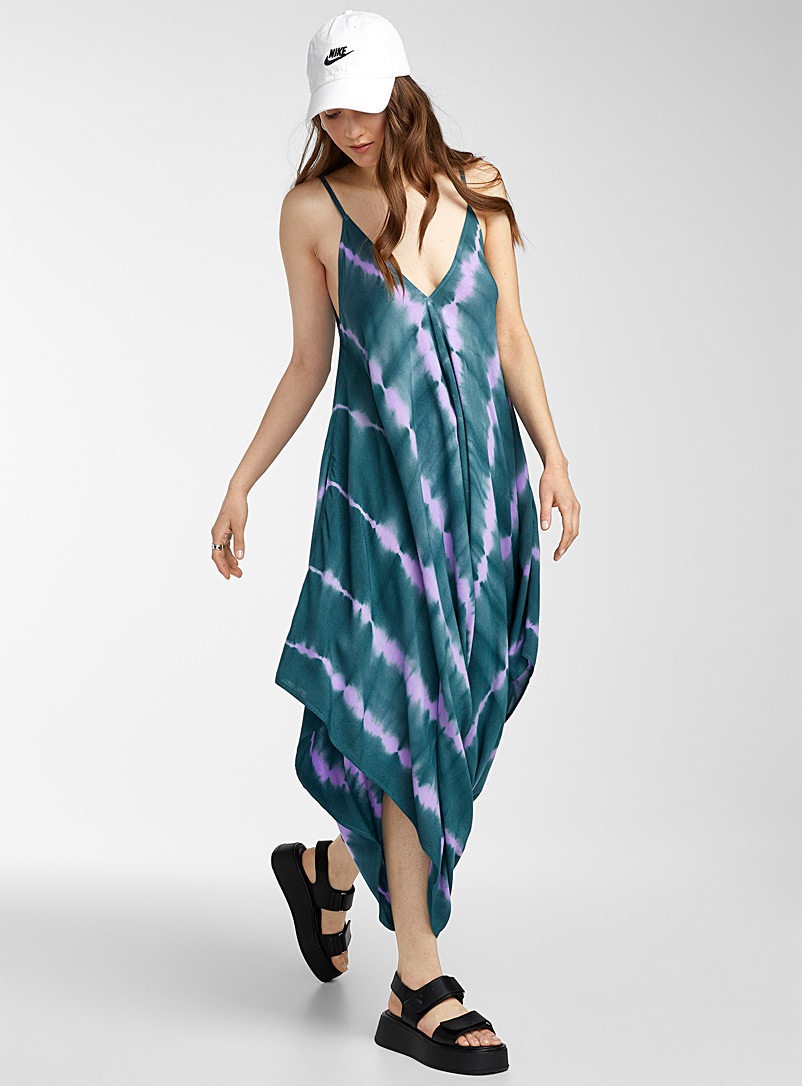 Icône Patterned Blue Tie-dye boho jumpsuit for women