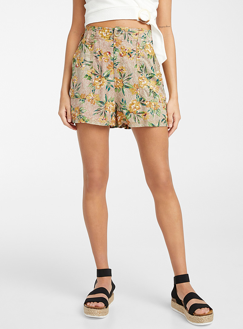 Ic?ne Patterned Yellow Sunny floral spotted short for women
