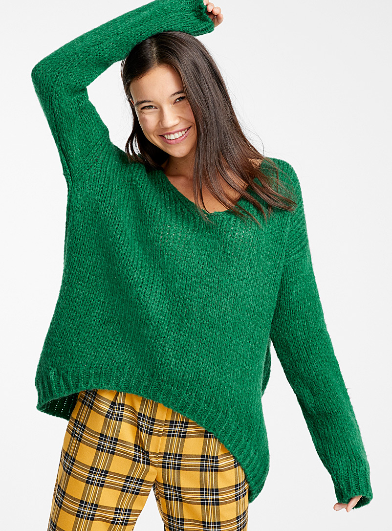 Wool and mohair V-neck sweater - Sweaters - Green