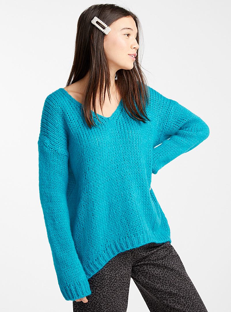 Wool and mohair V-neck sweater - Sweaters - Teal