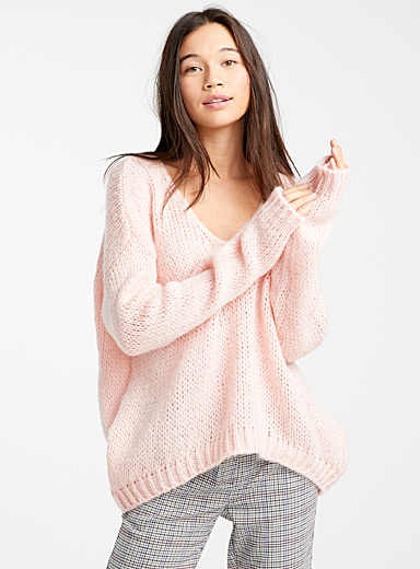 Wool and mohair V-neck sweater