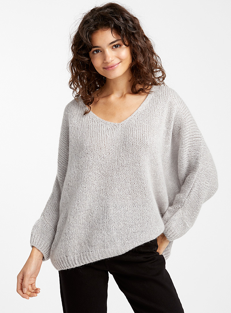 Loose V-neck mohair sweater - Sweaters - Light Grey