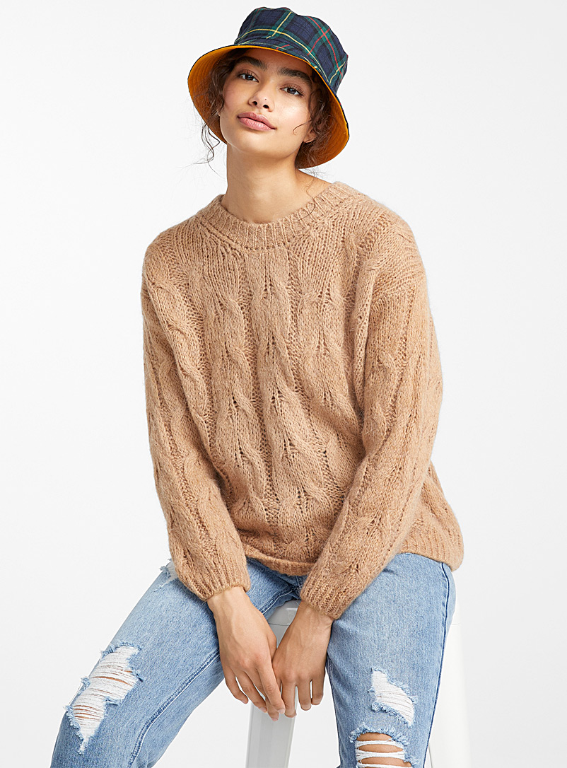 Chunky cable mohair sweater - Sweaters - Honey