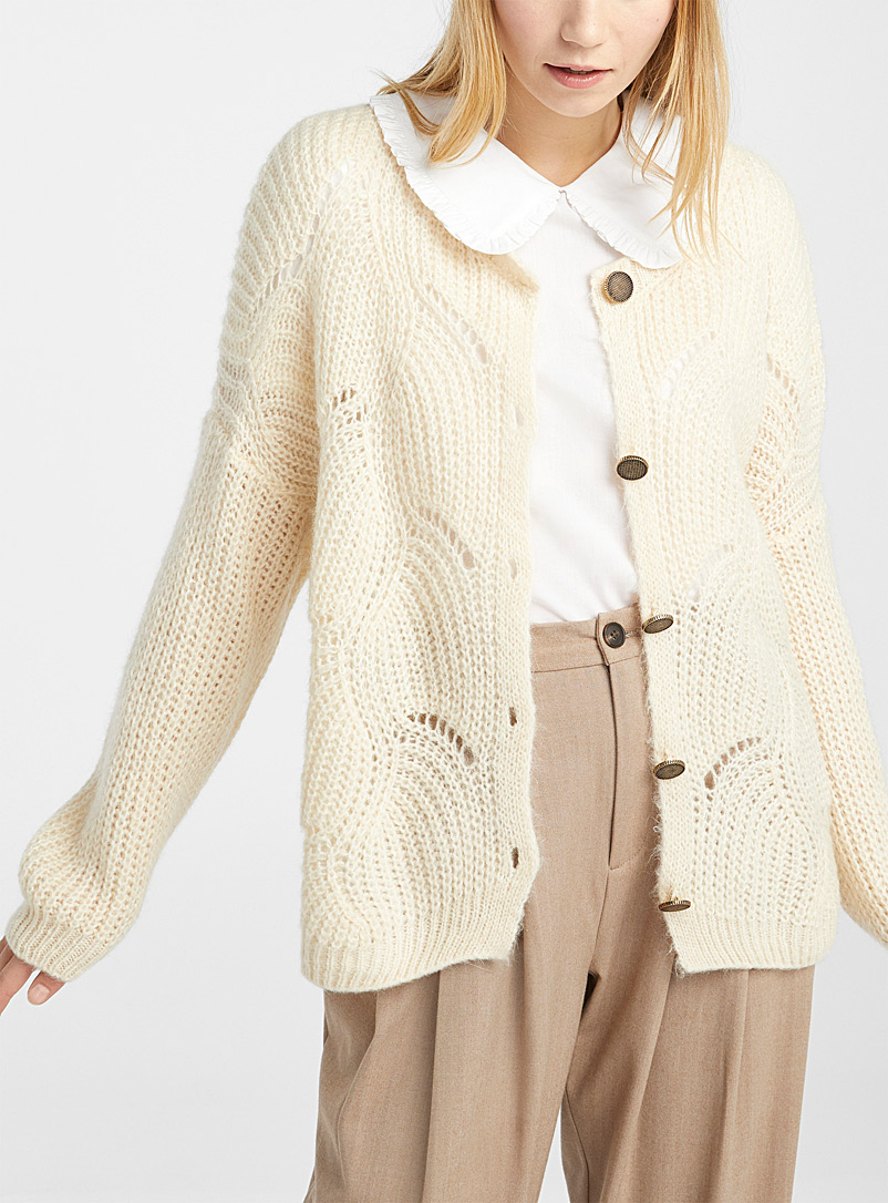 Twik Ivory White Antique button pointelle cardigan for women