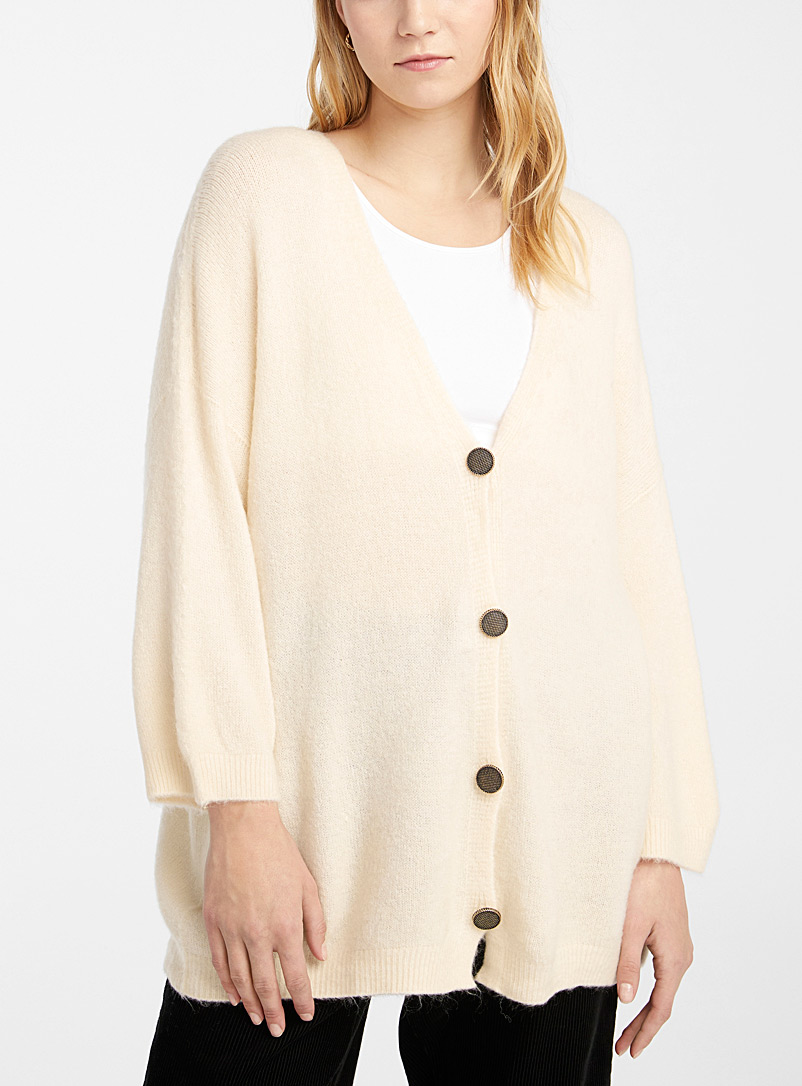 Twik Ivory White Loose antique-button cardigan for women