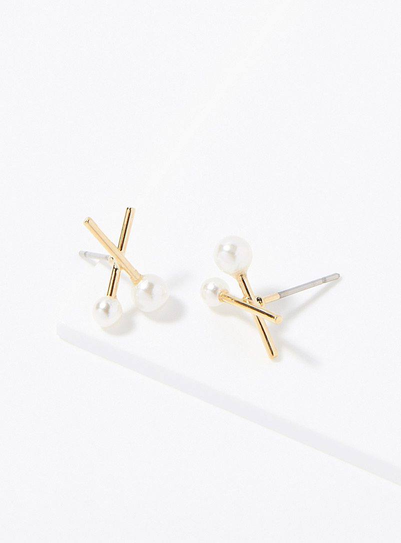 Simons Assorted gold  Pearly duo earrings for women