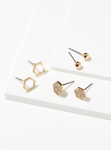 Hexagon earrings <br>Set of 3