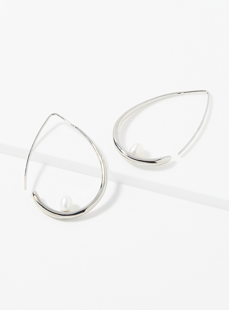 Simons Silver Pearly teardrop hoops for women