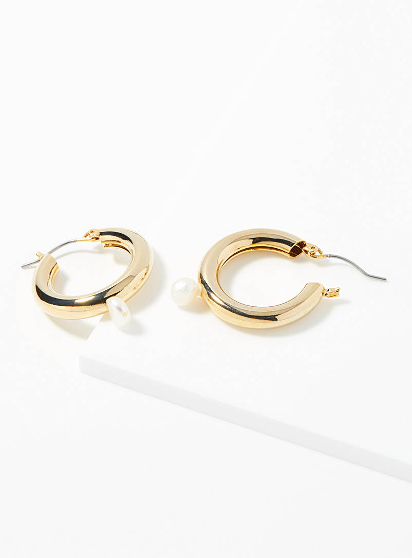 Simons Gold Wide pearly hoops for women