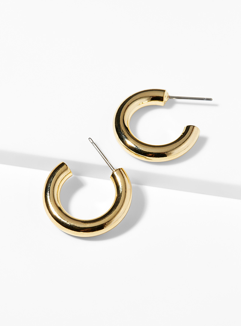 Shimmering tube hoop earrings