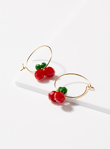 Pearly cherry earrings