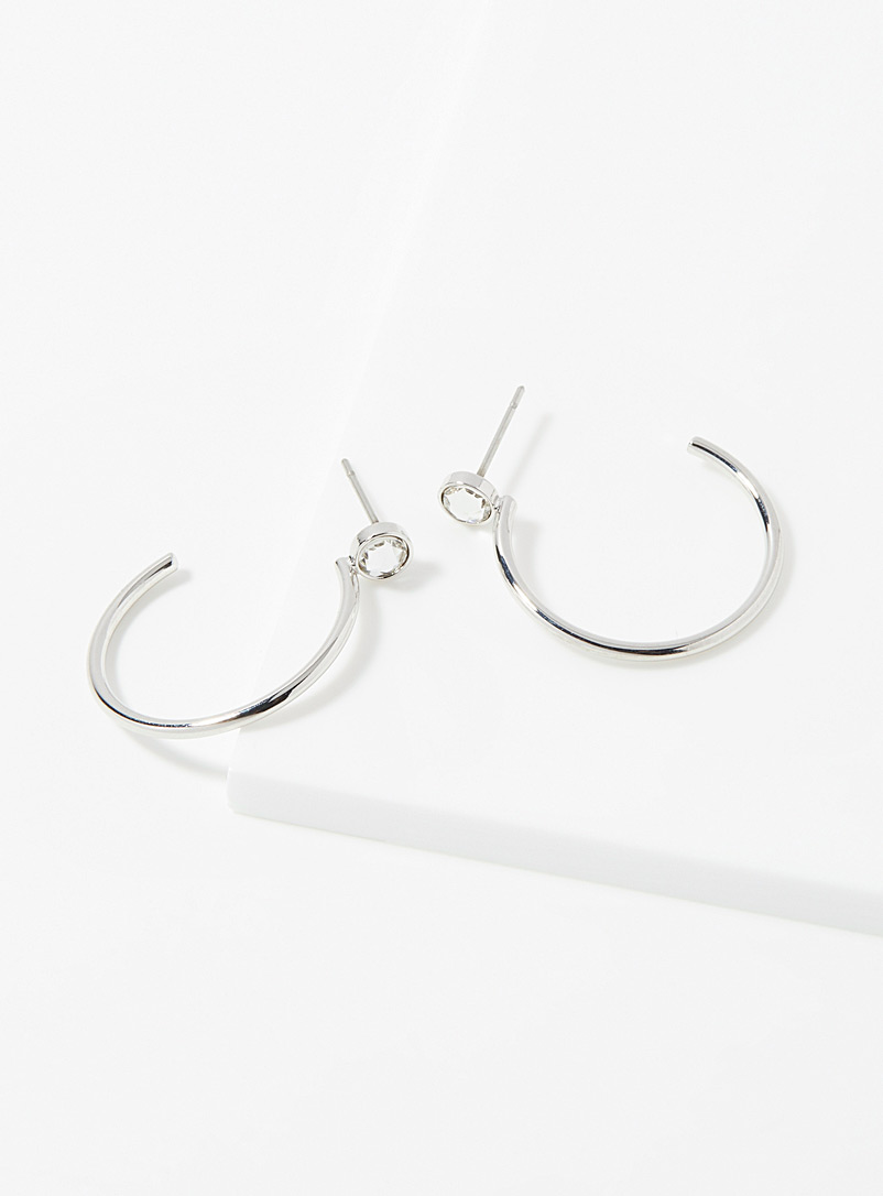 Simons Silver Single-stone hoops for women