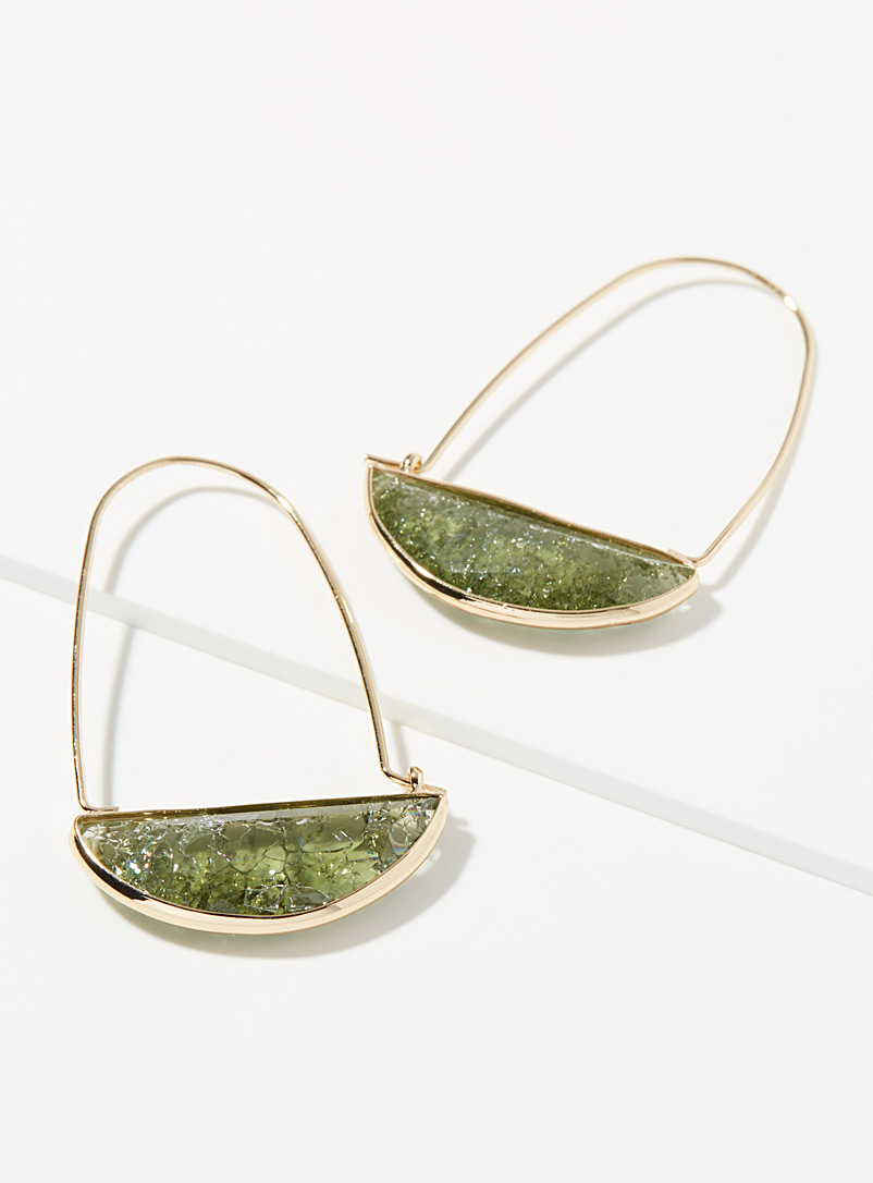 Simons Khaki Frosted crystal hoops for women