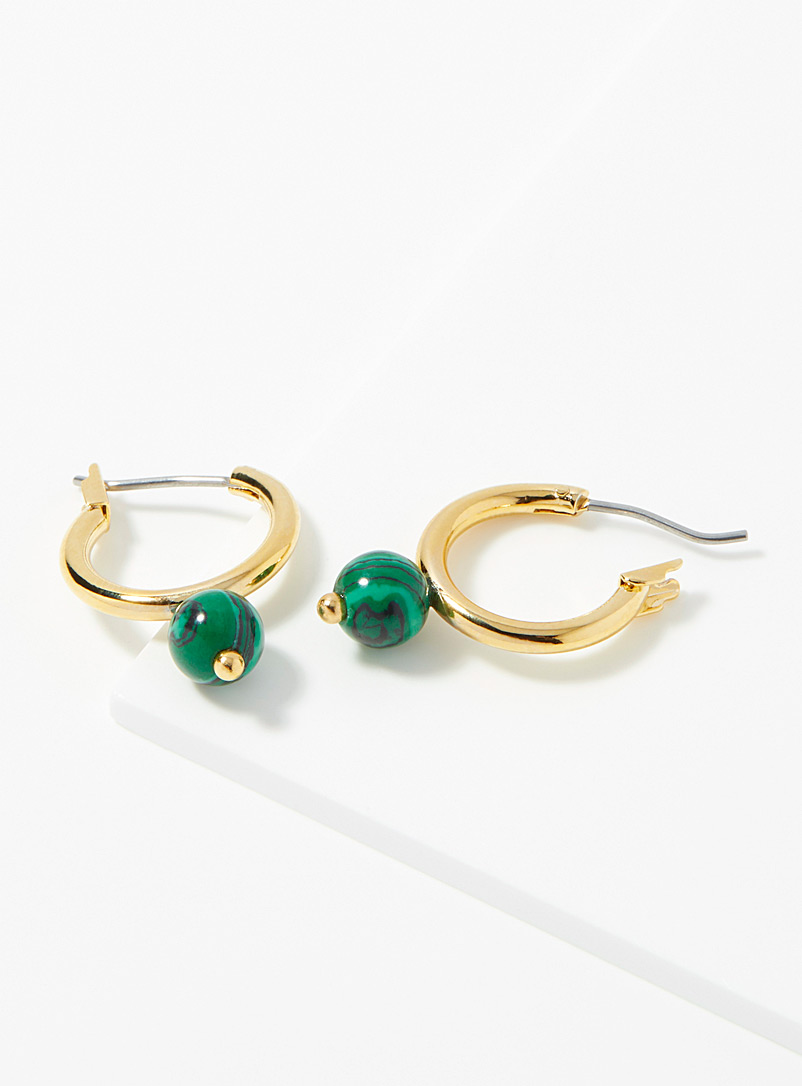 Simons Assorted gold  Green spheres hoops for women