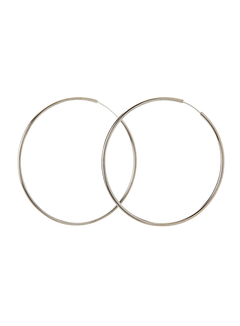 Metallic hoop earrings - Earrings - Dark Grey