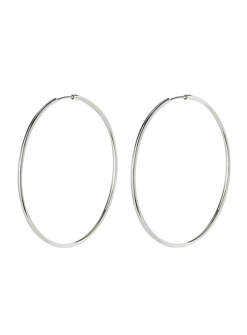 Simons Silver Metallic hoop earrings for women