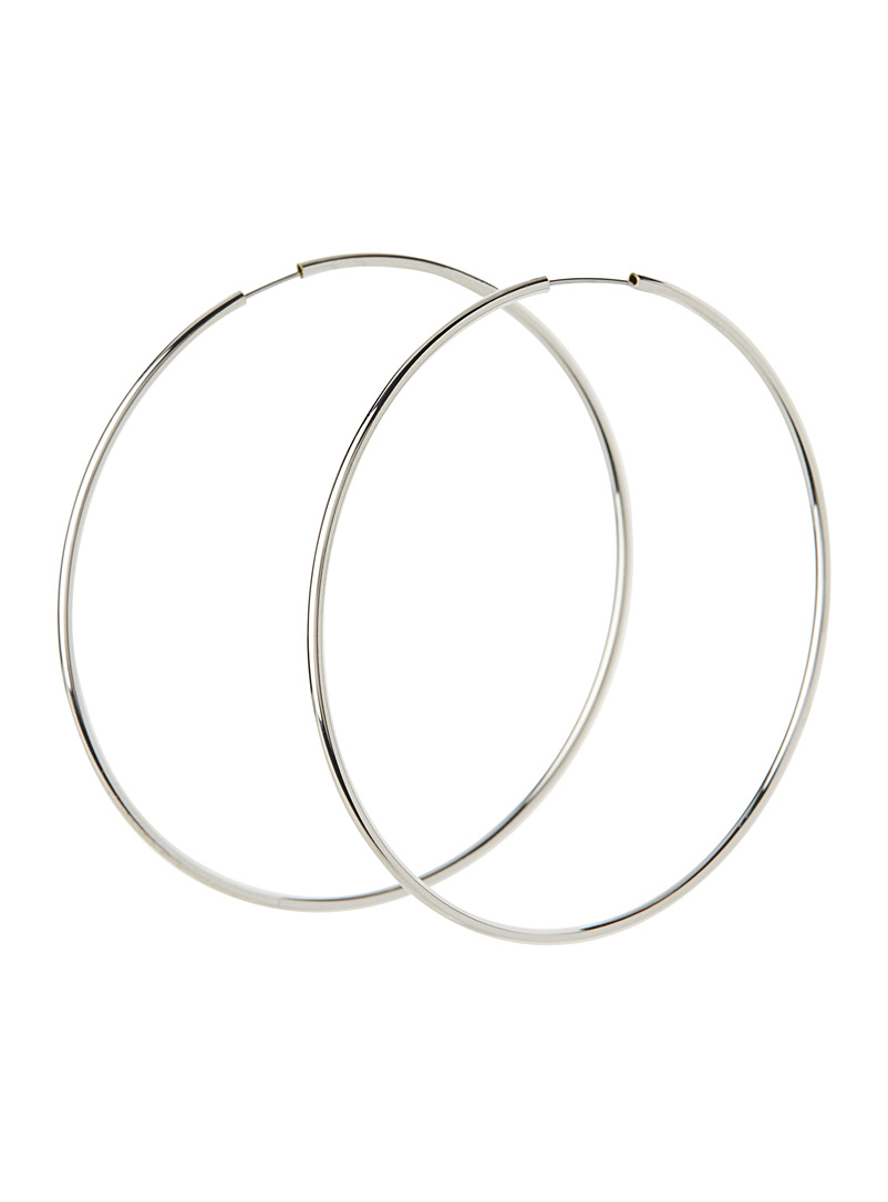 Simons Silver Rose gold hoop earrings for women