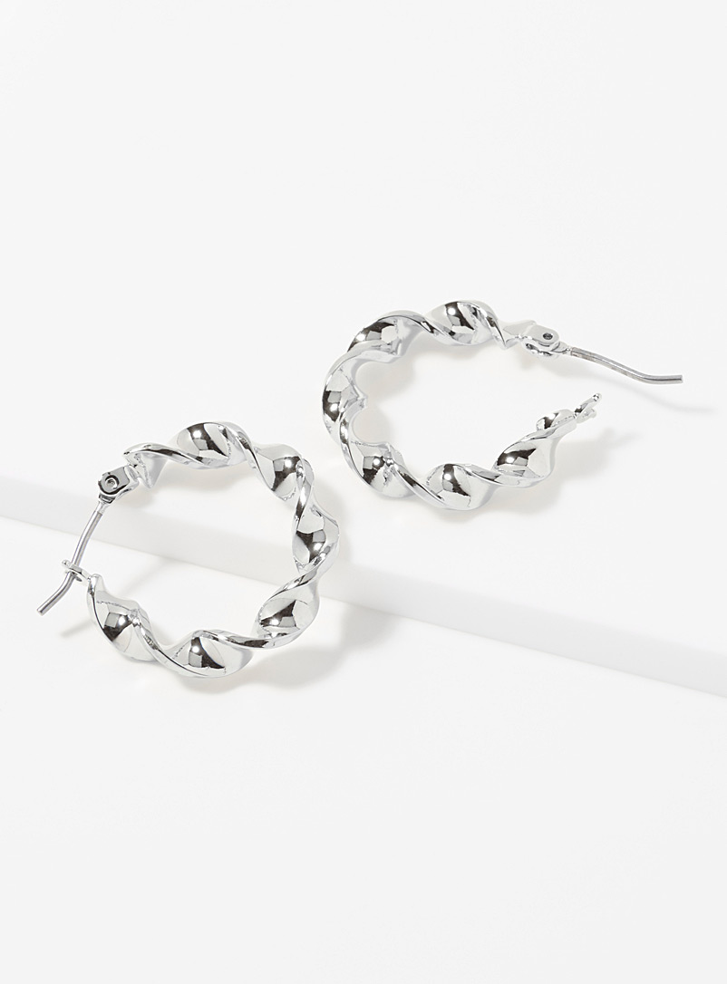 Simons Silver Small twisted hoops for women
