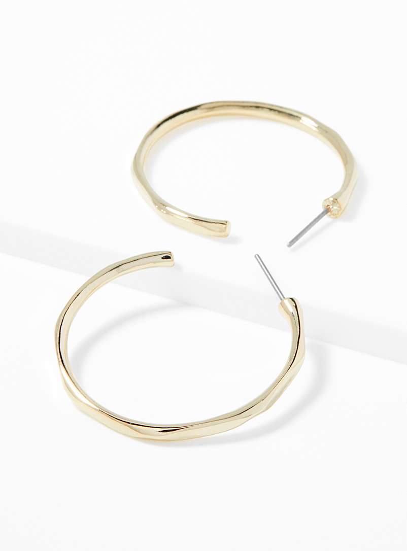 Simons Assorted Gold hammered hoops for women