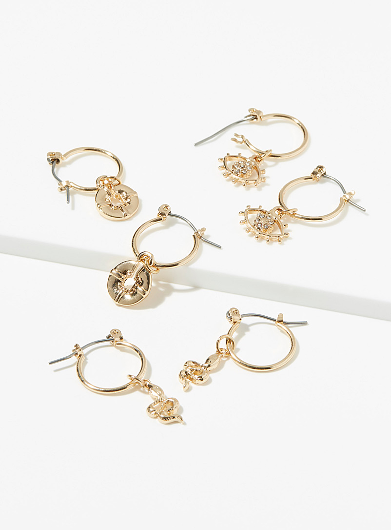 Simons Assorted Iconography earrings  Set of 3 pairs for women