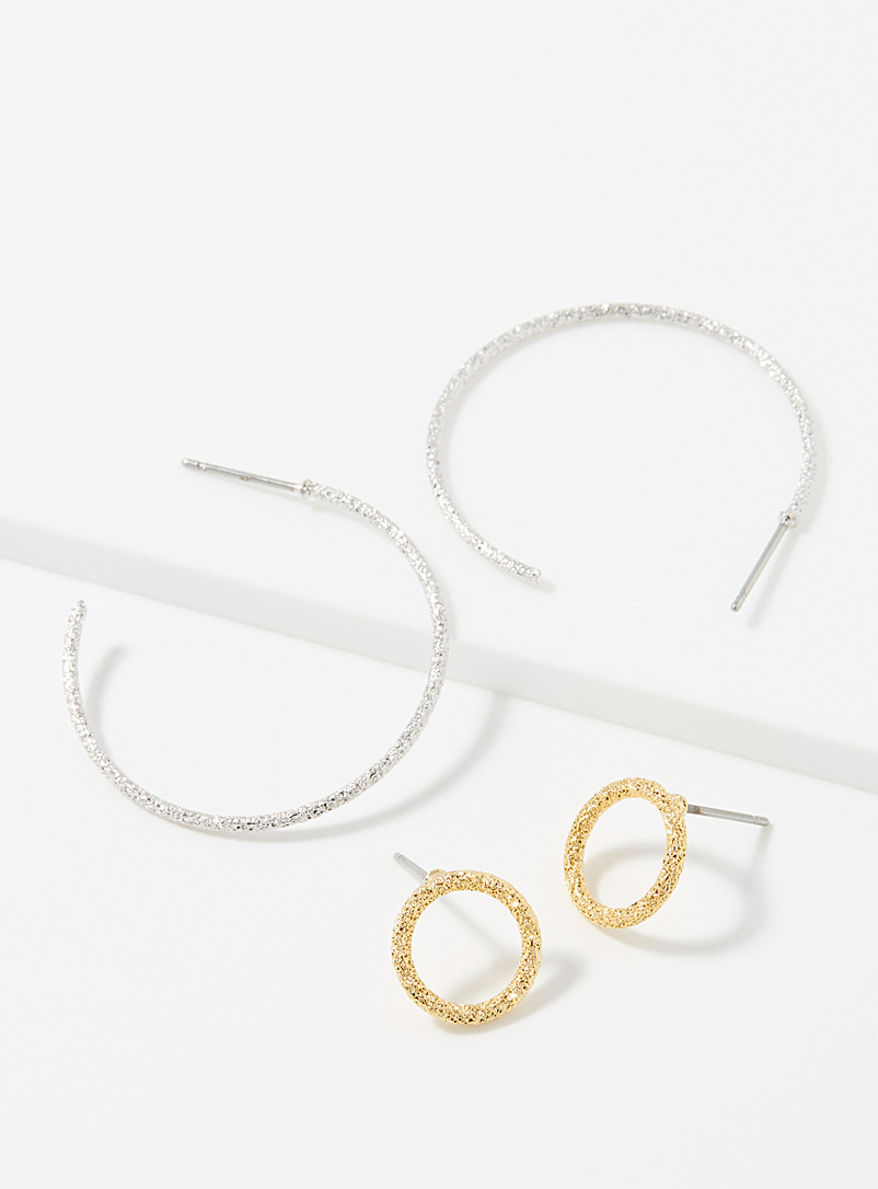 Simons Assorted Sequin hoops  Set of 2 pairs for women