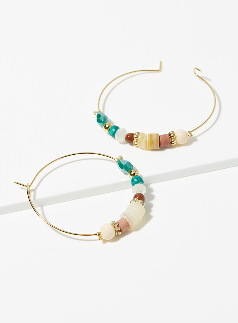 Simons Assorted gold  Pastel stone hoops for women