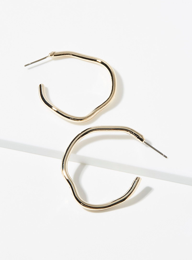 Simons Gold Minimalist hammered hoops for women