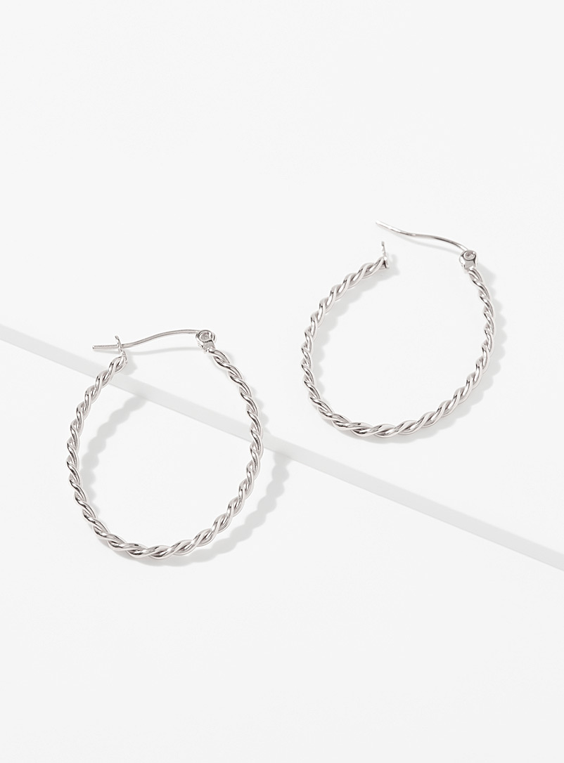 Simons Silver Grooved oval hoops for women